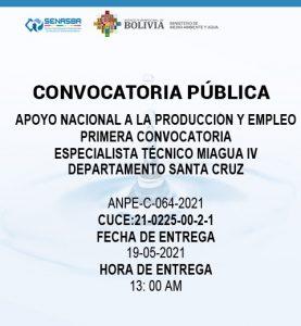 ESPECIALISTA TÉCNICO MIAGUA IV DEPARTAMENTO SANTA CRUZ