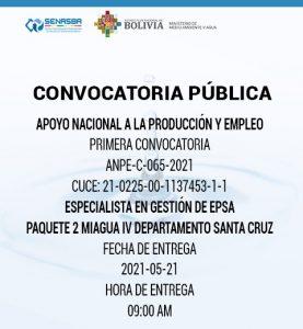 ESPECIALISTA EN GESTIÓN DE EPSA PAQUETE 2 MIAGUA IV DEPARTAMENTO DE SANTA CRUZ