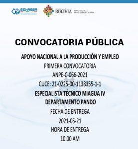 ESPECIALISTA TÉCNICO MIAGUA IV DEPARTAMENTO PANDO