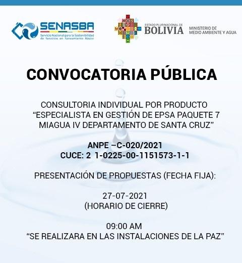 CONSULTORÍA INDIVIDUAL POR PRODUCTO ESPECIALISTA EN GESTIÓN DE EPSA PAQUETE 7 MIAGUA IV DEPARTAMENTO DE SANTA CRUZ