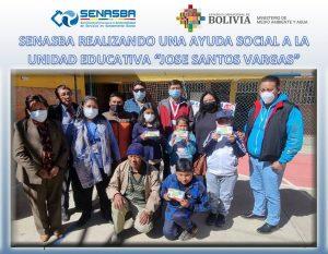 """AYUDA SOCIAL A LA UNIDAD EDUCATIVA """"JOSÉ SANTOS VARGAS """""""
