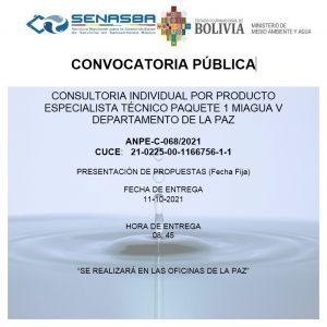 CONSULTORIA INDIVIDUAL POR PRODUCTO ESPECIALISTA TÉCNICO PAQUETE 1 MIAGUA V DEPARTAMENTO DE LA PAZ