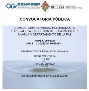 CONSULTORIA INDIVIDUAL POR PRODUCTO ESPECIALISTA EN GESTIÓN DE EPSA PAQUETE 1 MIAGUA V DEPARTAMENTO DE LA PAZ