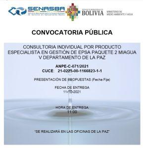 CONSULTORIA INDIVIDUAL POR PRODUCTO ESPECIALISTA EN GESTIÓN DE EPSA PAQUETE 2 MIAGUA V DEPARTAMENTO DE LA PAZ