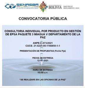 CONSULTORIA INDIVIDUAL POR PRODUCTO ESPECIALISTA EN GESTIÓN DE EPSA PAQUETE 3 MIAGUA V DEPARTAMENTO DE LA PAZ