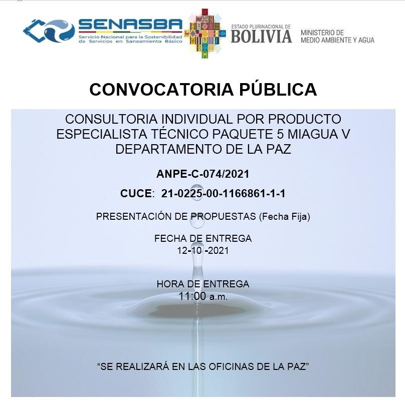 CONSULTORIA INDIVIDUAL POR PRODUCTO ESPECIALISTA TÉCNICO PAQUETE 5 MIAGUA V DEPARTAMENTO DE LA PAZ
