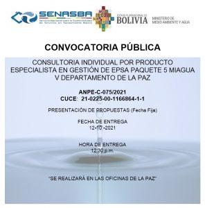 CONSULTORIA INDIVIDUAL POR PRODUCTO ESPECIALISTA EN GESTIÓN DE EPSA PAQUETE 5 MIAGUA V DEPARTAMENTO DE LA PAZ