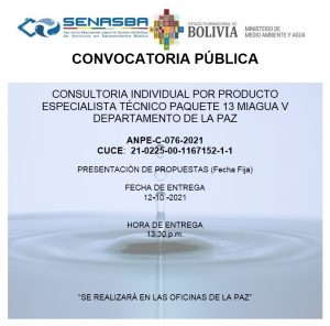 CONSULTORIA INDIVIDUAL POR PRODUCTO ESPECIALISTA TÉCNICO PAQUETE 13 MIAGUA V DEPARTAMENTO DE LA PAZ