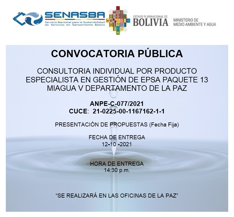 CONSULTORIA INDIVIDUAL POR PRODUCTO ESPECIALISTA EN GESTIÓN DE EPSA PAQUETE 13 MIAGUA V DEPARTAMENTO DE LA PAZ
