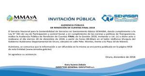 Invitacion Pública – Audiencia Publica Rendición de Cuentas Final 2018
