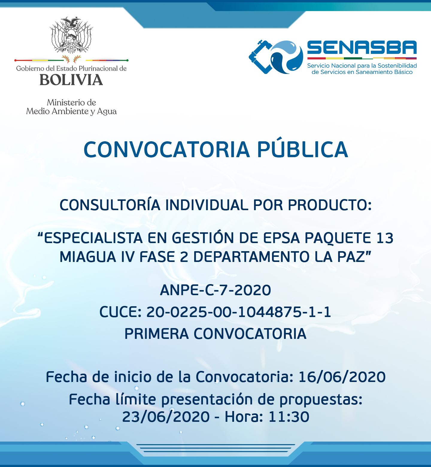 ESPECIALISTA EN GESTIÓN DE EPSA PAQUETE 13 MIAGUA IV FASE 2 DEPARTAMENTO LA PAZ