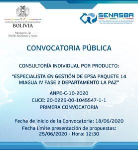 ESPECIALISTA EN GESTIÓN DE EPSA PAQUETE 14 MIAGUA IV FASE 2  DEPARTAMENTO LA PAZ